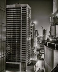 Night city view from roof (Clicks by Mike) Tags: lowlight night buildings cityscape manama juffair bahrain blackandwhite fx nikon