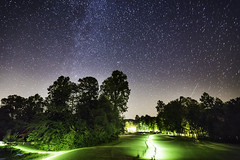 20170826_F0001: The moving world (wfxue) Tags: astronomy night sky milkyway andromeda galaxy m31 messier31 emission nebula stars dark bright trees forest woods lawn grass people torch flashlight walking planes tralis light longexposure