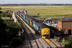 37419 passes over Reedham swing bridge working 2J67 0747 Lowestoft - Norwich 21/7/2017 (Paul-Green) Tags: reedham swing bridge class 37 374 37419 37405 drs direct rail services flickr canon camera aga abellio greater anglia river sun sunny morning july 2017 norfolk stock english electric type 3 diesel engine loco view uk gb railways 2j67 0747 lowestoft norwich