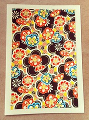NC6 - Note card with Japanese motif (tengds) Tags: card black flowers cream red orange yellow blue white papercraft tengds notecard handmadecard japanesemotif japanesedesign japaneseprint
