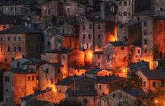 Night in Tuscany (Krasi St Matarov) Tags: tuscany italy sorano night light city roofs windows dark phototour workshop travel trip
