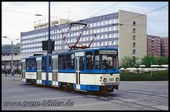 105-1991-05-13-1-Platz der Republik (steffenhege) Tags: gera strasenbahn tram fahrschulwagen ckd kt4d 105