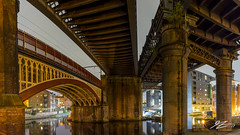 Don't Look Down (Tim van Zundert) Tags: panorama panoramic castlefield deansgate manchestershipcanal canal water manchester greatermanchester northwestengland bridge architecture urban city night evening longexposure sony a7r voigtlander 21mm ultron
