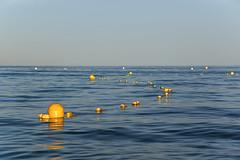 Oro (jandmpianezzo) Tags: boe seascapes evening sera mare acqua sea giallo blu cielo orizzonte francia vacanze onde oro outdoor pampelonne