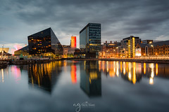 Liverpool sunset (Pastel Frames Photography) Tags: uk liverpool docks travel united kingdom reflections water cityscape colours clouds sky photography longexposure canon5dmark3 canon1635mm