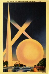 The Trylon and Perisphere, 1939 New York World's Fair. Postcard #44596, published by the Manhattan Post Card Co. (lhboudreau) Tags: postcard postcards vintagepostcard fair worldsfair newyorkworldsfair exhibition 1939 1939worldsfair 1939newyorkworldsfair internationalexhibition newyork artdeco trylon perisphere newyorkcity illustration coverart art artwork architecture keybuilding officiallylicensed manhattanpostcardpublishingco drawing fountain beacons