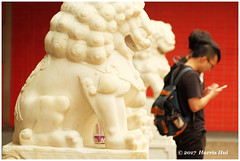 How Would Chinese Tradition Cope With Technology? - Chinatown XT4656e (Harris Hui (in search of light)) Tags: harrishui fujixt1 digitalmirrorlesscamera fuji fujifilm vancouver richmond bc canada vancouverdslrshooter mirrorless fujixambassador xt1 fujixcamera fujixseries fujix fuji55200mmf3548 fujizoomlens chinatown lion sculpture technology cellphone youngpeople street streetphotography candid streetcandid juxtaposition philosophical thinking chinesetraditionalculture moderntechnology