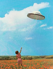 gwal (woodcum) Tags: girl field poppy sky clouds summer holding ufo flying saucer collage retro vintage surreal rope color grain