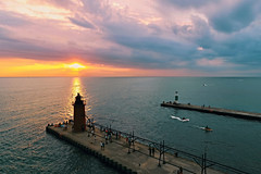 South Haven Sunset 1 (08 10 2017) (PhotoDocGVSU) Tags: phantom4professional drone uav aerialphotography sunset colors southhavenmi greatlakes lakemichigan lighthouse puremichigan