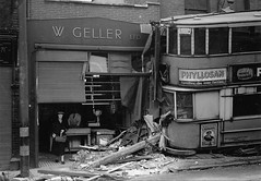 London transport E1 tram 576 18th April 1946. (Ledlon89) Tags: londontransport lt lte lptb bus tram buses trams lorry lorries woolwich accident crash e1 tramcar tramway shop shopfront