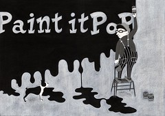 Paint It POP (Hilo Tomula) Tags: hilo tomula hiro tomura ヒロ トムラ ひろ とむら illustration illustrator painting painter drawing black white gray color pop bw art design silk cartoon comic vintage retro boston terrier french bulldog bull dog animal worker workpants overall look back wall drip printing