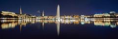 Binnenalster bei Nacht (Benni's Fotobude) Tags: hamburg binnenalster alster fontäne city panorama water night