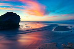 Autumn Equinox Sunset (pixelmama) Tags: california californiastateparks pescadero pescaderostatebeach pixelmama sanmateocoast sanmateocounty sunset autumnequinox firstdayoffall fall autumn lowtide clouds seascape