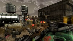 On Your Knees At Last... (tralala.loordes) Tags: postapocalyse apocalypse atomic radiation checkpoint resist secondlife virtualreality ruins tanks tankers barriers barbed wire publicshelter abandonment devastation decay