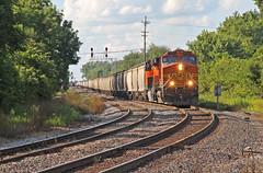 Grain Train in Marion (craigsanders429) Tags: bnsflocomotives bnsfmotivepower marionohio csxinmarionohio tracks railroadtracks bnsf4144 csxcolumbussubdivision graintrains
