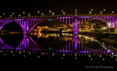 Henley Street Bridge Knoxville, TN (K.Yemenjian Photography) Tags: tennessee southeast bridge water river tennesseeriver street purple purplelight blackbackground nightshots night knoxville knoxvilletn canont5i canon700d canon reflection skyline city cityscape lights henleystreetbridge henleystreet henleybridge t5i 700d placescity