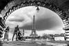 Eiffel from Bir Hakeim Bridge (Mustafa Selcuk) Tags: 16mm 2017 paris august eiffel fujifilm travel xpro2 blackandwhite bnw bw siyahbeyaz monochrome monochromatic street streetphotography streetphotographer parisstreets