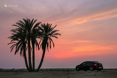 Sunset (hisalman) Tags: sunset beach trees car sky