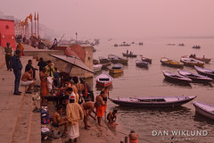 A morning wash by the Ganges (Dan Wiklund) Tags: india varanasi uttarpradesh men morning river ganges yoga riverside d800 2014 boats washing misty dawn