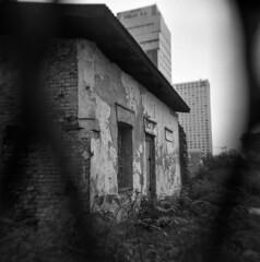 Warsaw Ghetto Ruins (Blurmageddon) Tags: holga120gcfn holga europe mediumformat film analogphotography blackandwhite vacation epsonv700 standdeveloped semistand rodinal kodak tmax400 tmy400 plasticfantastic warsawpoland