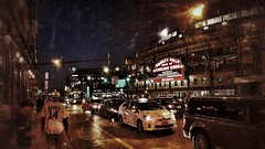 postgame blues... (BillsExplorations) Tags: cubs brewers wrigleyfield wrigleyville baseball game mlb chicago downtown illinois ballpark streetscene postgame cars bars banks iconic worldserieschamps blues