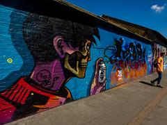 Look Behind You (Steve Taylor (Photography)) Tags: skull ask rtf 40hk pozr backpack hand art graffiti mural streetart tag colourful weird crazy mad odd strange man uk gb england greatbritain unitedkingdom london paint aerosol spray perspective