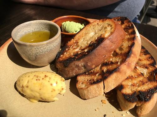 Sourdough, Whipped Basil Feta, Mustard Butter, EVOO