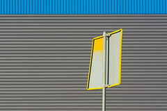 Yellow sign in front of a grey and blue wall (Jan van der Wolf) Tags: map160136ve lines lijnen sign yellow geel bord verkeersbord roadsign streetsign trafficsign wall muur grey grijs blue
