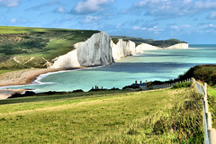 The Seven Sisters (Croydon Clicker) Tags: cliffs chalk fence grass view panorama sussex england uk channel nikon sigma path hills 1500v60f