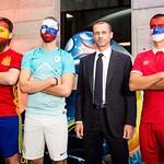Predsednik Uefe Aleksander Čeferin in ˝žive lutke˝ na žrebu skupin prihajajočega UEFA Futsal EURO 2018. Foto: Vid Ponikvar