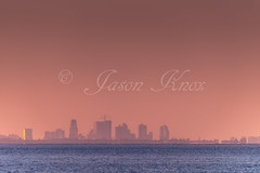 Skyline of Tampa FL before Hurricane Irma (Knox Art Works) Tags: horizon shoreline reflection sunsetwater sunsetbeach sunsetlandscape orange sea beach ocean dramaticsky twilight sky tampaflorida sunshine humidity sunset outdoor evening dusk paradise beautifulsunset sunshineskywaybridge view landscape tampa water bay florida seascape 2017 clouds tropical tranquilscene