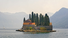 Sveti Đorđe And The Misty Mountains (Alfred Grupstra) Tags: sea church mountain summer water adriaticsea architecture montenegro nature scenics travel landscape coastline island kotorbay cultures perast old europe lake svetiđorđe