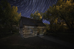 Teddy's Cabin (Lightcrafter Artistry) Tags: cabin night stars startrails medora northdakota theodoreroosevelt nightphotography longexposure theodorerooseveltnationalpark