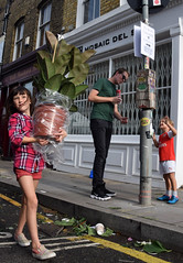DSC_5454a London Columbia Road Sunday Flower Market Little Girl Large Plant (photographer695) Tags: london columbia road sunday flower market little girl large plant