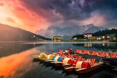 Lago di Misurina_5 (Croosterpix) Tags: morning sunrise landscape lake lago reflection mountains alps dolomiti dolomites sky clouds light sony a7r nikkor1835