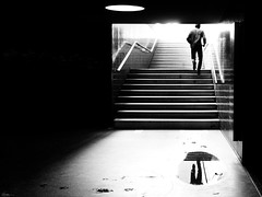 Hurry up and wait! (René Mollet) Tags: underground man reflection shadow silhouette morning light mirror hurry passage blackandwhite street streetphotography streetart station streetphotographiebw schwarzweiss step wait renémollet candite