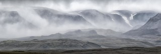 Icelandic mountains in the mist