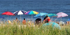 Beach Umbrellas (markchevy) Tags: jerseyshore atlantic ocean beach sandy boardwalk umbrellas colorful oceangrove nj newjersey landscape photo pictorial pix scene graphic picture vista omdem10 interesting markchevy johnspilatro