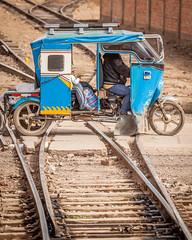 Bumpy ride. (yeahwotever) Tags: cusco peru puno train tuk tuktuk switch point junction crossing railway railroad yard