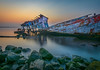 Broken ship (jenvendes) Tags: indonesia jakarta port sunrise muara karang ship sea morning landscape sun stones sinking popular seascape broken longexposure places sky colorful