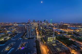 Harwood District Dallas w/ moon