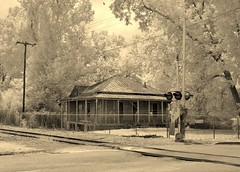 House by the tracks (Neal3K) Tags: georgia infraredcamera kolarivisionmodifiedcamera americusga rr tracks ir 520nmfilter railroad railroadtracks sepia