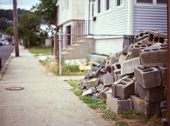 Piled Blocks (Space Pant) Tags: 120 slide film mamiya6451000s mamiya 645 nj highlands construction restoration suburban sandy shore sidewalk cinderblock rubble pile expired