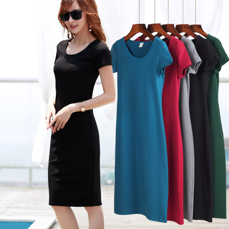 Black short sleeved grounding dress, female summer slim slim dress, pure color dress, casual stretch knitted skirt, 2017 new styles