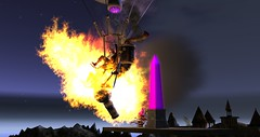Today's news : Hatchie brutally attacked by air pirates! (Osiris LeShelle) Tags: secondlife second life avilion nexus medieval fantasy roleplay hatchie aerowin ani initiative beacon air balloon pirates fire explosion oops combat