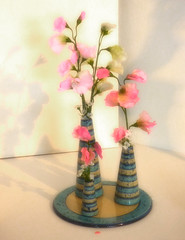Potted Pastels (Steve Taylor (Photography)) Tags: pastel clay pottery ceramics hallplace pot stand plate stripes art pink yellow red green uk gb england unitedkingdom greatbritain flower shadow kent bexley