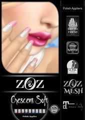 {ZOZ}  Crescent Soft pix L (Zoz icon) Tags: zoz zozicon {zoz} applier mesh meshnails mani manicure pedi pedicure frenchtip french beach ocean starfish slocca original slink maitreya omega vista vistabento