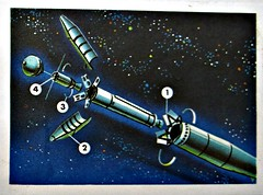 Launching (Sallanches 1964) Tags: rocketscience racetothestars chocolatejacques educationalchromos picturealbum 1960s space universe launch