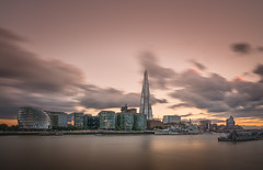 Pink Gold (Photo Lab by Ross Farnham) Tags: london thames shard city hall southbank golden hour sony a7rii lee filters little stopper long exposure clouds ross farnham skyline hms belfast