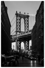 Manhattan Bridge seen from Dumbo in Brooklyn, New York (m@rk Williams) Tags: manhattan bridge blankwhite monochrome street newyork light architecture dumbo